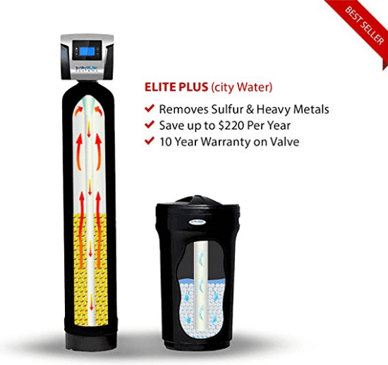 "alt=""SoftPro Elite Plus High Efficiency 64000 Grain Water Softener comes with brine tank with float assembly"""